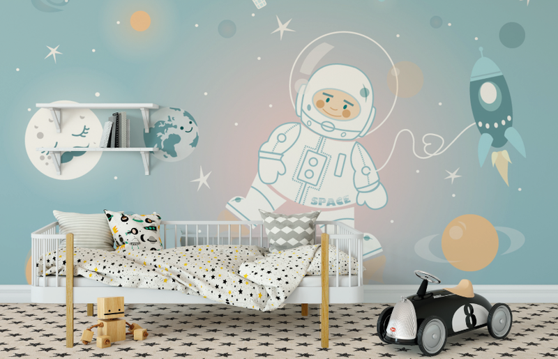Ride To The Moon (Light) Wall Mural