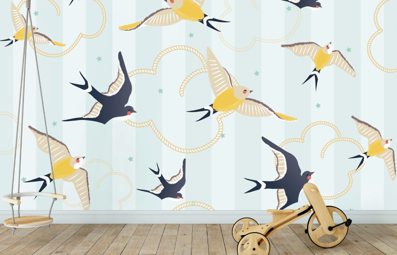 Swallows at Sea Wall Mural