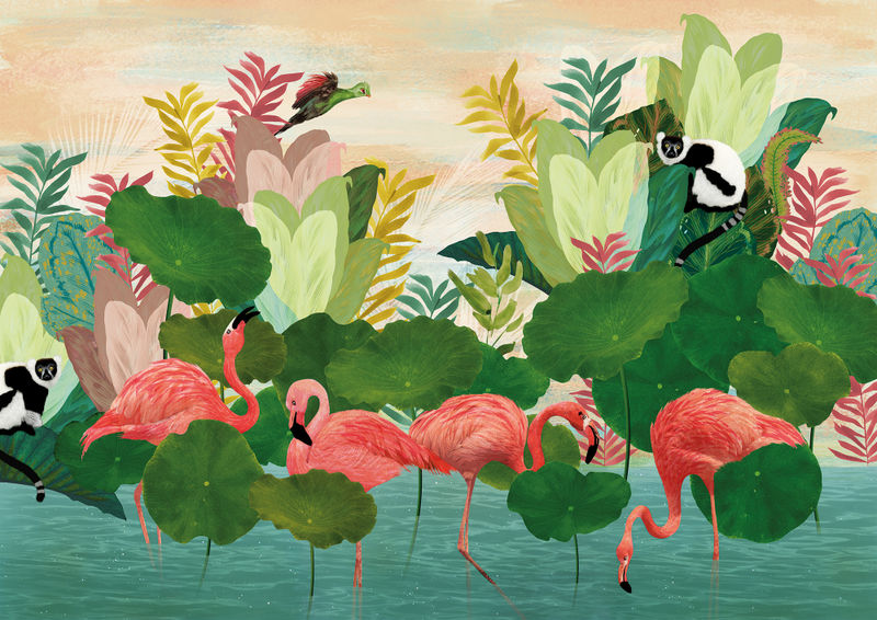 Flamingo Pond Wall Mural