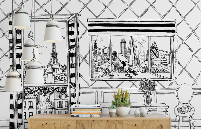 Paris to London Wall Mural